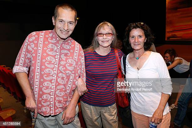 Actress Marina Vlady standing between her son Igor Hossein and guest attend 'Le Cavalier seul' Theater Play at Theatre 14 on June 26 2014 in Paris...