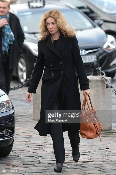 Actress Marine Delterme arrives to attend the funeral of journalist Jacques Chancel at Saint-Germain-des-Pres church on January 6, 2015 in Paris,...
