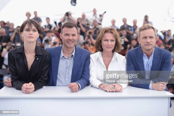 Actress Marine Vacth Director Francois Ozon Jacqueline Bisset and Jeremie Renier attend the 'Amant Double ' Photocall during the 70th annual Cannes...