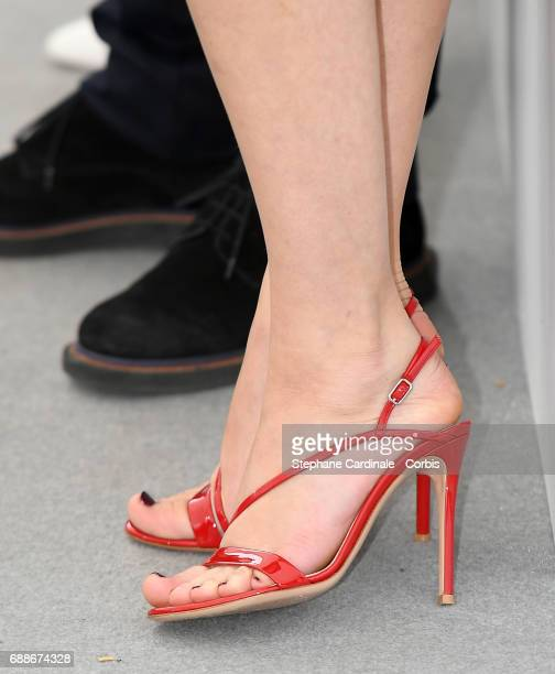 Actress Marine Vacth's shoes atthe 'Amant Double ' Press Conference during the 70th annual Cannes Film Festival at Palais des Festivals on May 26...