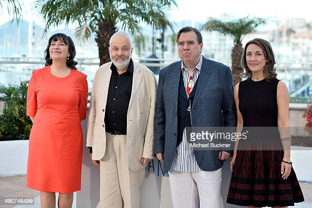 Actress Marion Bailey director Mike Leigh actors Timothy Spall and Dorothy Atkinson attend the Mr Turner photocall during the 67th Annual Cannes Film...