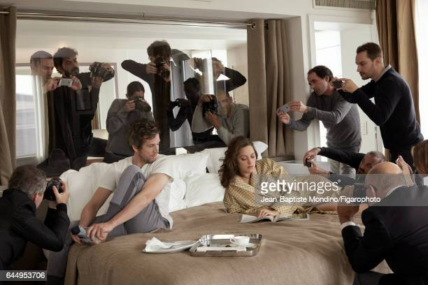 Actress Marion Cotillard and actor/director Guillaume Canet are photographed for Madame Figaro on October 18 2016 in Paris France Canet Tshirt pants...