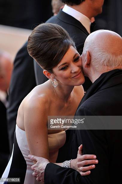 Actress Marion Cotillard and Chairman of the Cannes Film Festival Gilles Jacob attends the 'Blood Ties' Premiere during the 66th Annual Cannes Film...