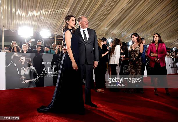 Actress Marion Cotillard and director Robert Zemeckis attend the fan event for Paramount Pictures' 'Allied' at Regency Village Theatre on November 9...