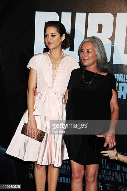 Actress Marion Cotillard and her mother Niseema Theillaud attend the Public Enemies Paris premiere at the Cinema UGC Normandie on July 2 2009 in...