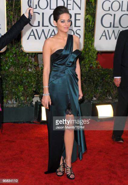 Actress Marion Cotillard arrives at the 67th Annual Golden Globe Awards held at The Beverly Hilton Hotel on January 17 2010 in Beverly Hills...