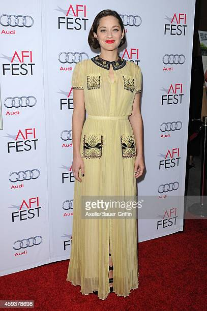 Actress Marion Cotillard arrives at the AFI FEST 2014 Presented By Audi 'Two Days One Night' special screening at the Egyptian Theatre on November 7...