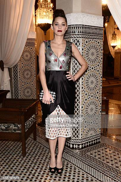 Actress Marion Cotillard attends a dinner hosted by Dior during the 13th Marrakech International Film Festival on December 1 2013 in Marrakech...
