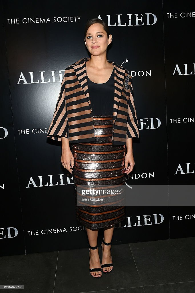Actress Marion Cotillard attends a special screening of 'Allied' hosted by Paramount Pictures, The Cinema Society & Chandon at iPic Fulton Market on November 15, 2016 in New York City.