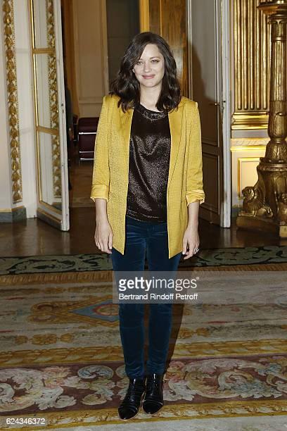 Actress Marion Cotillard attends Robert Zemeckis decorated 'Officier des Arts et Lettres' by Ministre de la Culture Audrey Azoulay at Ministere de la...