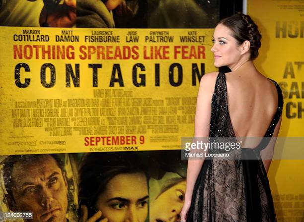 """Actress Marion Cotillard attends the """"Contagion"""" premiere at the Rose Theater, Jazz at Lincoln Center on September 7, 2011 in New York City."""