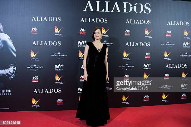 Actress Marion Cotillard attends the Madrid premiere of the Paramount Pictures title 'Allied' at Callao City Lights on November 22 2016 in Madrid...