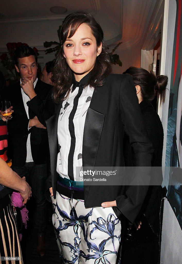 "Actress Marion Cotillard attends W Magazine's 'Best Performances Issue"" and the Golden Globe Awards celebration with W Magazine, Cadillac and Dom Pérignon at Chateau Marmont on January 11, 2013 in Los Angeles, California."
