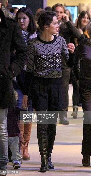 Actress Marion Cotillard is sighted at the 'Gucci Paris Masters 2012' at Paris Nord Villepinte on December 1 2012 in Paris France