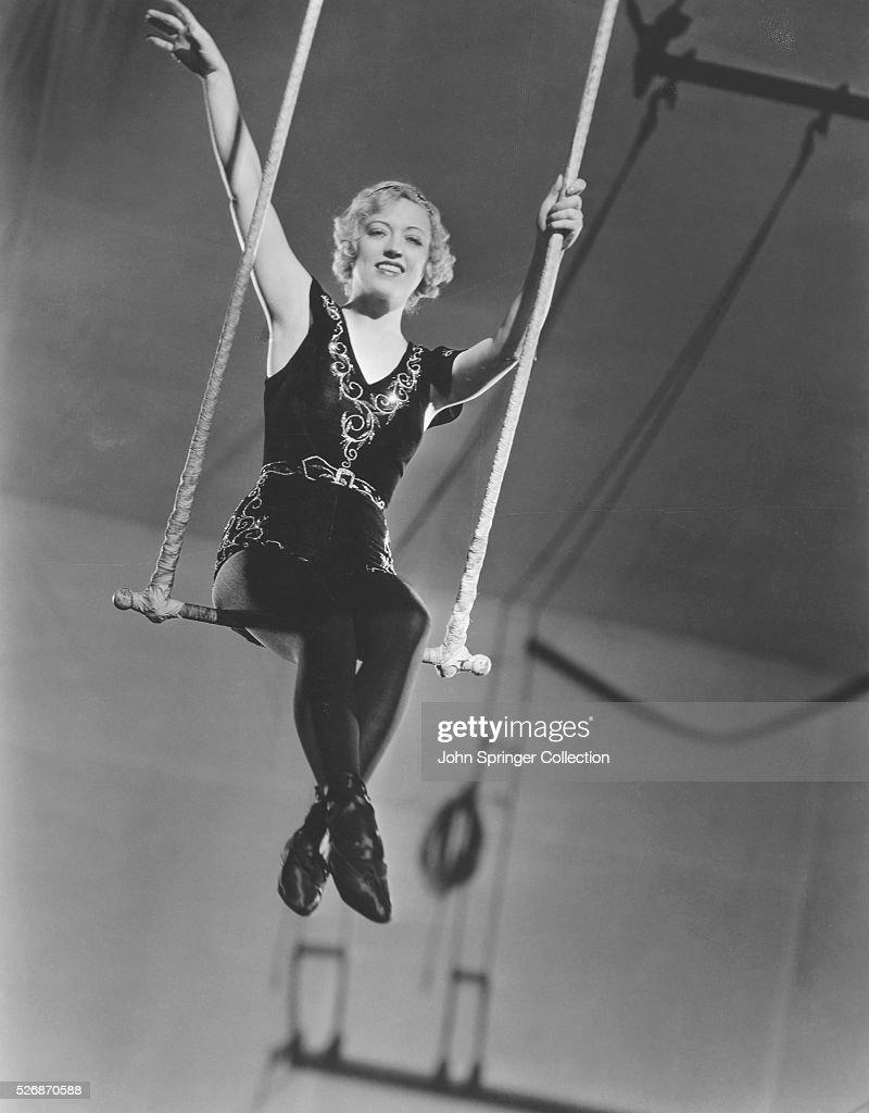 Actress Marion Davies on a Trapeze : News Photo