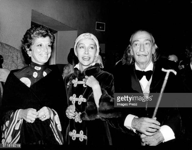 Actress Marion Javits artist Ultra Violet and artist Salvador Dali attends the 40th Anniversary celebration of the Hayden Planetarium on October 9...