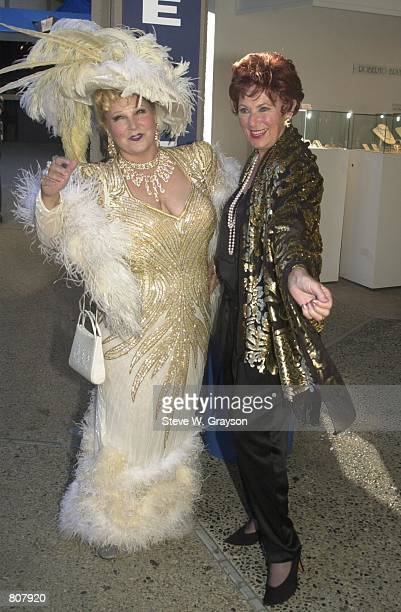 Actress Marion Ross poses with a Mae West impersonator at the Laguna Beach Festival of Arts Pageant September 1, 2000 in Laguna Beach, California.