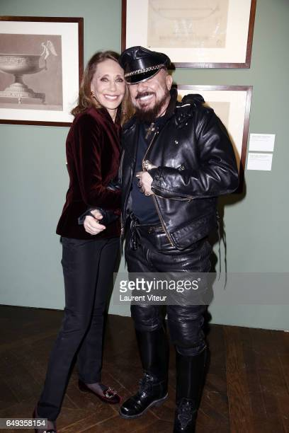 Actress Marisa Berenson and Architec Peter Marino attends Dessiner L'Or et L'Argent Odiot Orfevre Exhibition Launch at Musee Des Arts Decoratifs on...