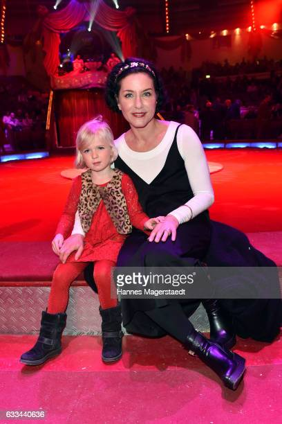 Actress Marisa Burger and her niece Anna during the 'AllezHopp' premiere at Circus Krone on February 1 2017 in Munich Germany