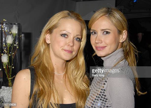 Actress Marisa Coughlan and actress Ashley Jones attend the LA Art Show hosted by Venice Magazine held at Barker Hanger on January 23 2008 in Santa...