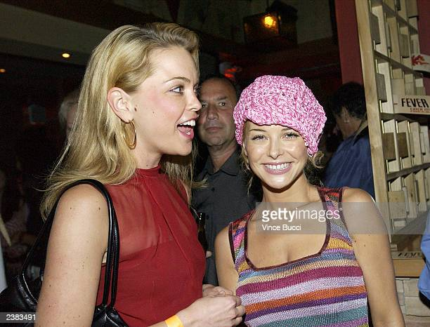 Actress Marisa Coyghlan and Jordan Ladd attend the afterparty for the Los Angeles premiere of the film Cabin Fever on August 8 2003 at Star Shoes in...