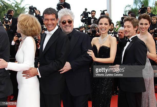 Actress Marisa Paredes actor Antonio Banderas director Pedro Almodovar actress Elena Anaya actor Jan Cornet and Blanca Suarez attend the The Skin I...