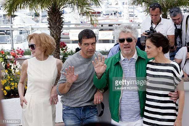 Actress Marisa Paredes actor Antonio Banderas director Pedro Almodovar and actress Elena Anaya attend 'The Skin I Live In' Photocall at Palais des...