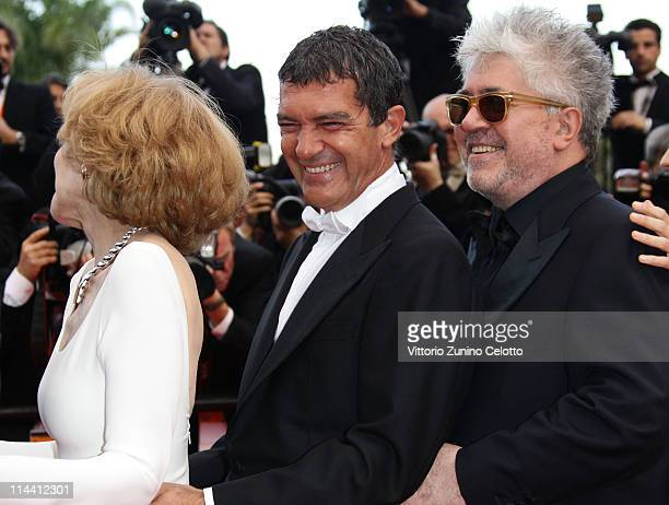 Actress Marisa Paredes actor Antonio Banderas director Pedro Almodovar attend the The Skin I Live In premiere at the Palais des Festivals during the...