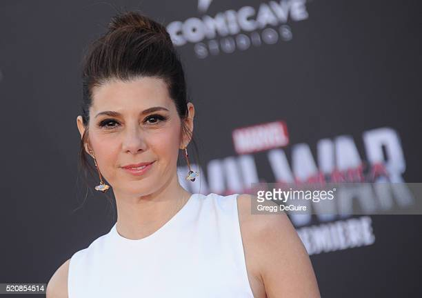 Actress Marisa Tomei arrives at the premiere of Marvel's 'Captain America Civil War' on April 12 2016 in Hollywood California