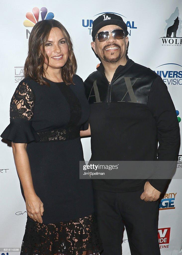 Actress Mariska Hargitay and actor/rapper Ice-T attend the TV Guide celebrates Mariska Hargitay at Gansevoort Park Avenue on January 11, 2017 in New York City.