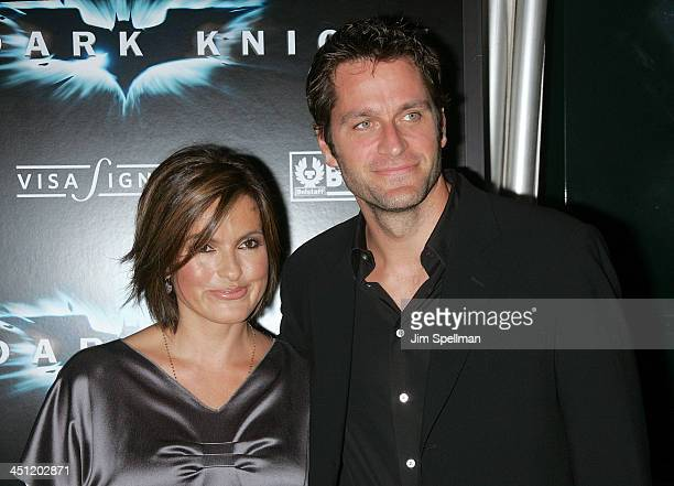 Actress Mariska Hargitay and Actors Peter Hermann attend the premiere of The Dark Knight at AMC Loews Lincoln Center on July 14 2008 in New York City
