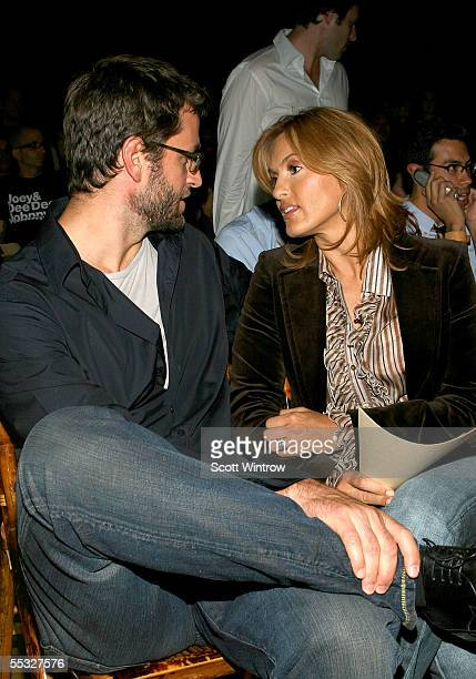 Actress Mariska Hargitay and her husband Peter Herman pose in the front row at the John Varvatos Collection at Olympus Fashion Week Spring 2006 at on...