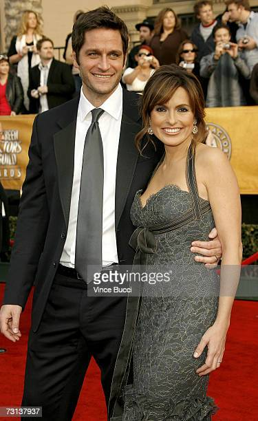Actress Mariska Hargitay and husband actor Peter Hermann arrive at the 13th Annual Screen Actors Guild Awards held at the Shrine Auditorium on...