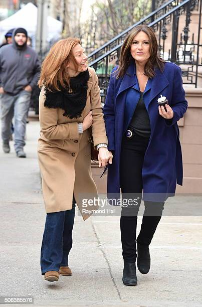 Actress Mariska Hargitay and Michaela McManus are seen on the set of Law Order Special Victims Unit Mariska Hargitay on her Birthday with cup cake in...