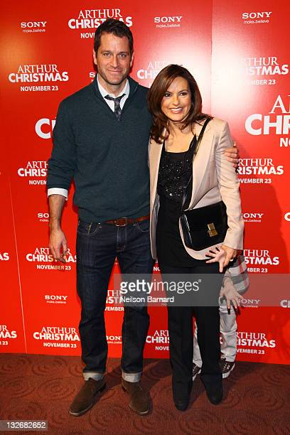 Actress Mariska Hargitay and Peter Hermann attend the Arthur Christmas premiere at the Clearview Chelsea Cinemas on November 13 2011 in New York City