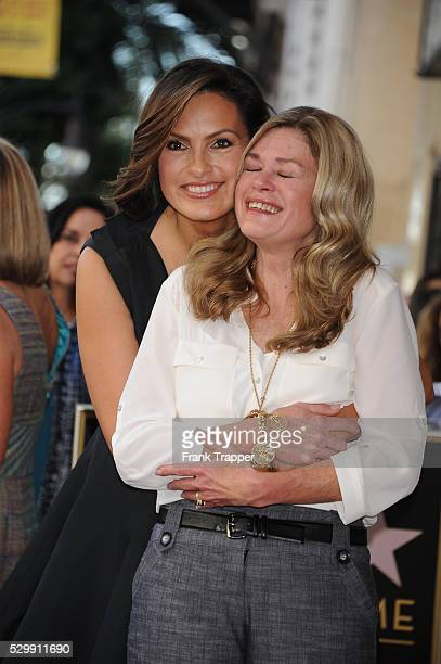Actress Mariska Hargitay and sister Tina pose at the ceremony that honored with a Star on the Hollywood Walk of Fame
