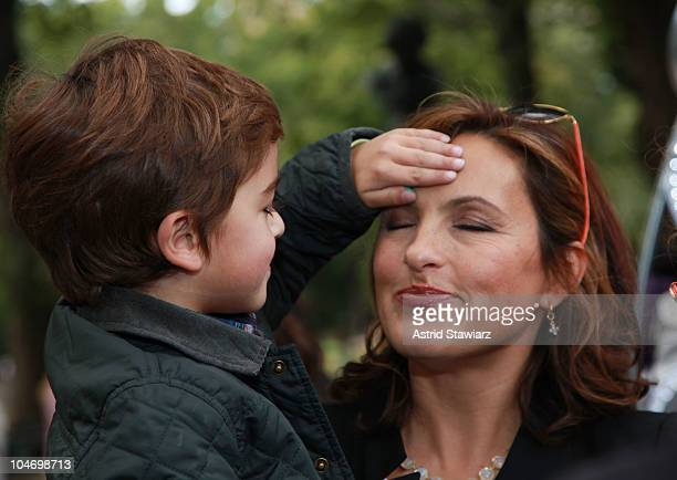 Actress Mariska Hargitay and son August Miklos Friedrich Hermann attend the Ultimate Block Party at Naumburg Bandshell In Central Park on October 3...