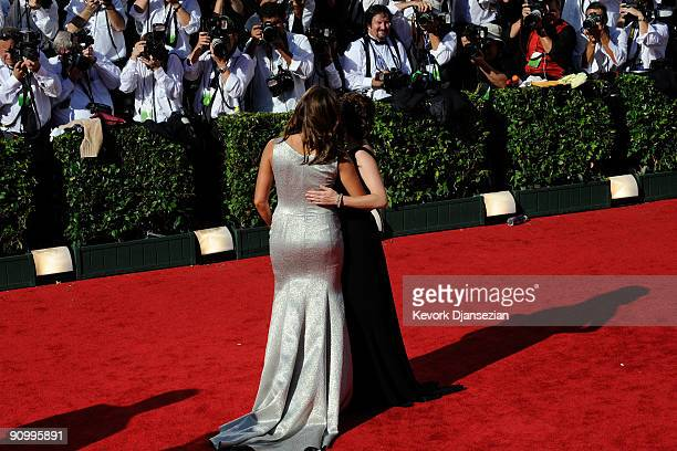 Actress Mariska Hargitay and Tina Fey arrive at the 61st Primetime Emmy Awards held at the Nokia Theatre on September 20 2009 in Los Angeles...