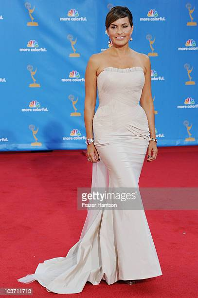 Actress Mariska Hargitay arrives at the 62nd Annual Primetime Emmy Awards held at the Nokia Theatre LA Live on August 29 2010 in Los Angeles...