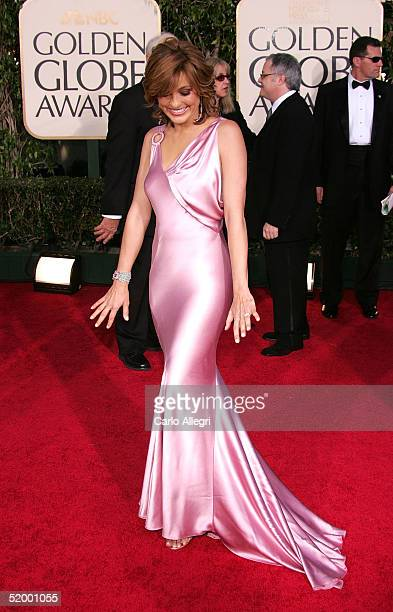 Actress Mariska Hargitay arrives to the 62nd Annual Golden Globe Awards at the Beverly Hilton Hotel January 16 2005 in Beverly Hills California