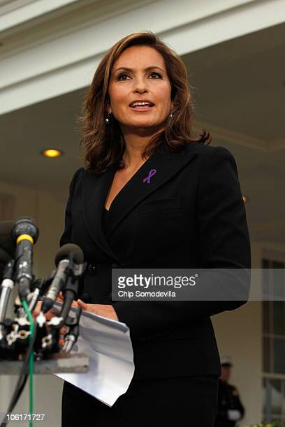 Actress Mariska Hargitay delivers a statement to reporters outside the West Wing after a Domestic Violence Awareness Month event at the White House...
