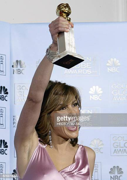 US actress Mariska Hargitay holds her Golden Globe for Best Performance By An Actress in a Television Series Drama for Law Order Special Victims Unit...