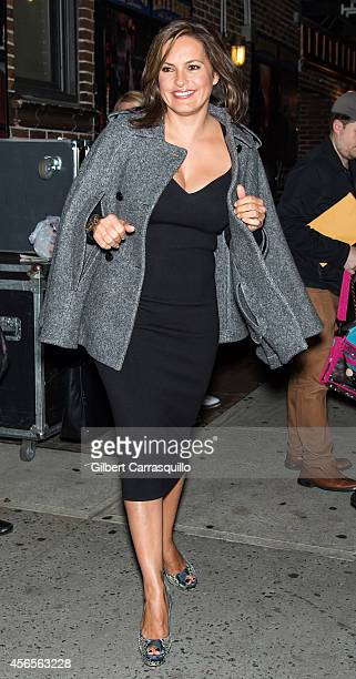 Actress Mariska Hargitay is seen leaving the 'Late Show With David Letterman' taping at the Ed Sullivan Theateron October 2 2014 in New York City