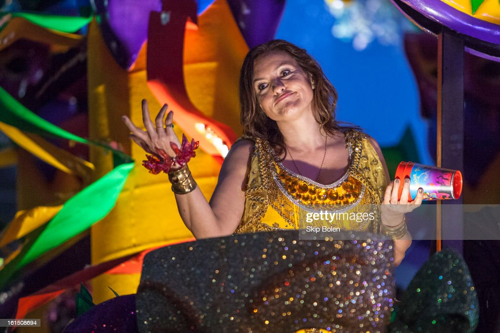 Actress Mariska Hargitay rides in the 2013 Krewe of Orpheus Mardi Gras Parade on February 11, 2013 in New Orleans, Louisiana.