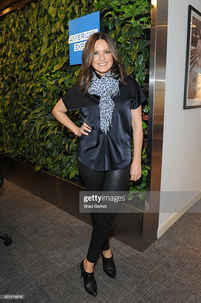 "American Express And Mariska Hargitay Celebrate ""Amex Cheer"" At The Centurion Lounge In New York's LaGuardia International Airport"