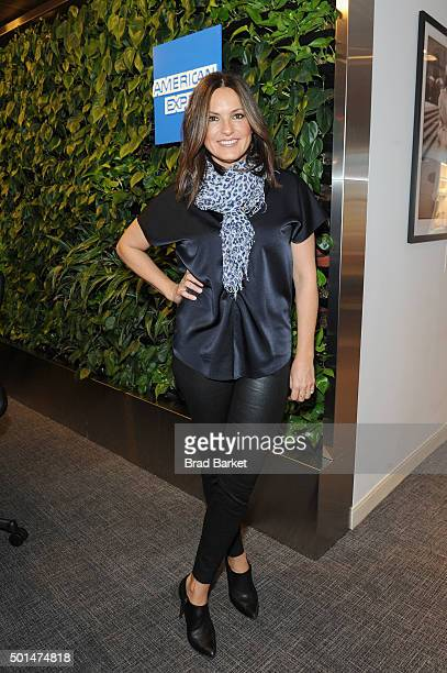 Actress Mariska Hargitay surprises American Express Card Members in The Centurion Lounge at New York's LaGuardia Airport to celebrate seven days of...