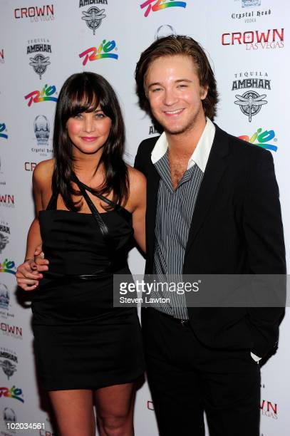 Actress Marissa Lefton and actor Michael Welch arrive to host an evening at Crown Nightclub on June 12 2010 in Las Vegas Nevada