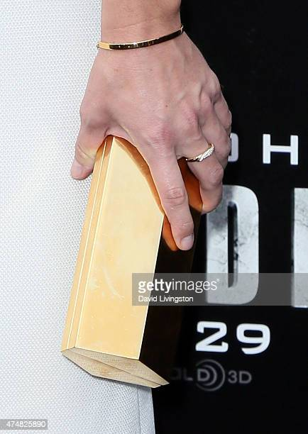 Actress Marissa Neitling purse detail attends the premiere of Warner Bros Pictures' San Andreas at the TCL Chinese Theatre on May 26 2015 in...