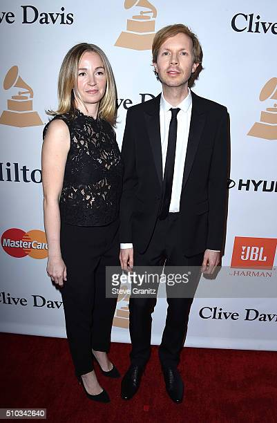 Actress Marissa Ribisi and recording artist Beck attend the 2016 PreGRAMMY Gala and Salute to Industry Icons honoring Irving Azoff at The Beverly...