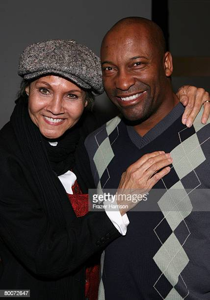 Actress Marki Bey poses with director John Singleton at the AFI Screening of The Landlord held at the Skirball Cultural Center on February 292008 in...